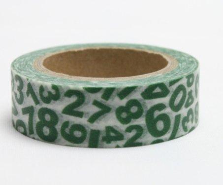 Dekorační lepicí páska - WASHI pásky-1ks zelená čísla