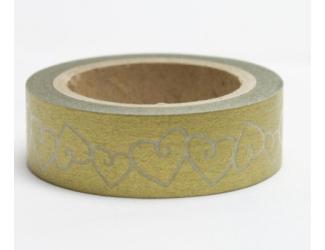 Dekorační lepicí páska - WASHI pásky-1ks zlatá srdce