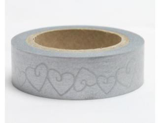 Dekorační lepicí páska - WASHI pásky-1ks stříbrná srdce