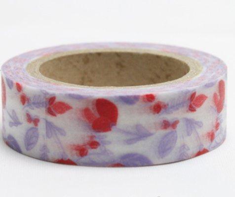 Dekorační lepicí páska - WASHI pásky-1ks kvítí lila s červenou