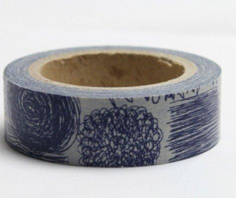 Dekorační lepicí páska - WASHI pásky-1ks modré čmáranice
