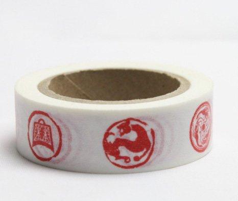 Dekorační lepicí páska - WASHI pásky-1ks čínské znaky červené v bílé
