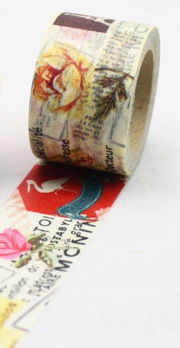 Dekorační lepicí páska - WASHI pásky-1ks růže v textu