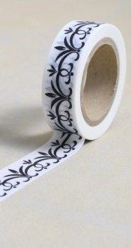Dekorační lepicí páska - WASHI pásky-1ks černá listová bordura v bílé