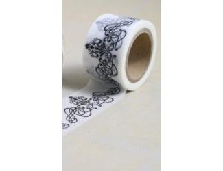 Dekorační lepicí páska - WASHI pásky-1ks ornament v bílé