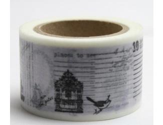 Dekorační lepicí páska - WASHI pásky-1ks černobílý ptáček, dům...