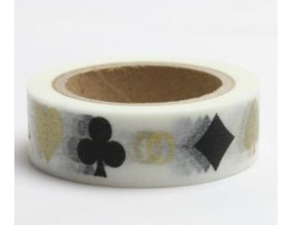 Dekorační lepicí páska - WASHI pásky-1ks karty zlaté