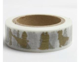 Dekorační lepicí páska - WASHI pásky-1ks zlatá-svatební