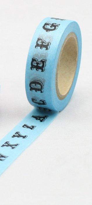 Dekorační lepicí páska - WASHI pásky-1ks ABeCeDa v modré