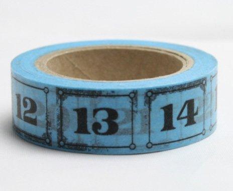 Dekorační lepicí páska - WASHI pásky-1ks čísla v modré