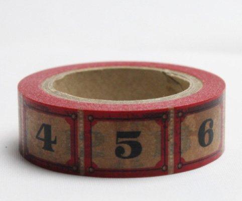 Dekorační lepicí páska - WASHI pásky-1ks čísla v červené
