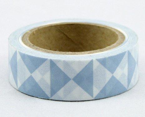 Dekorační lepicí páska - WASHI pásky-1ks modré 3úhelníky
