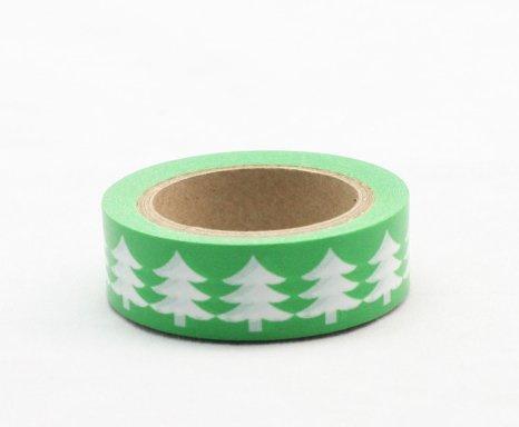 Dekorační lepicí páska - WASHI tape-1ks bílé stromy na zeleném
