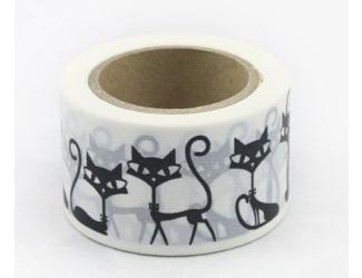 Dekorační lepicí páska - WASHI pásky-1ks Kočky
