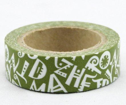 Dekorační lepicí páska - WASHI tape-1ks bílá písmena v zelené