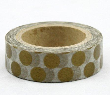 Dekorační lepicí páska - WASHI pásky-1ks zlaté puntíky