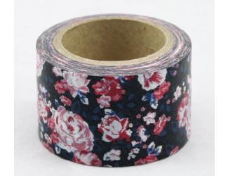 Dekorační lepicí páska - WASHI pásky-1ks růže v černém