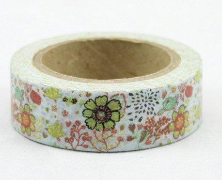 Dekorační lepicí páska - WASHI pásky-1ks kvítí s ptáčky