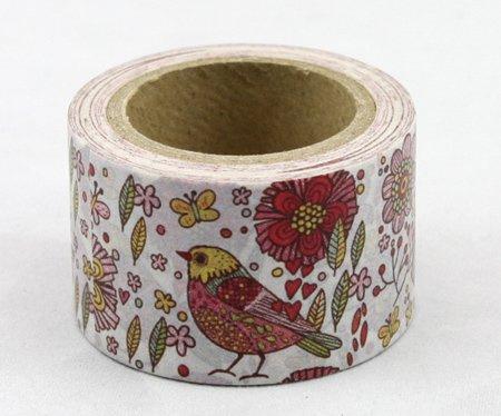 Dekorační lepicí páska - WASHI pásky -1ks ptáček