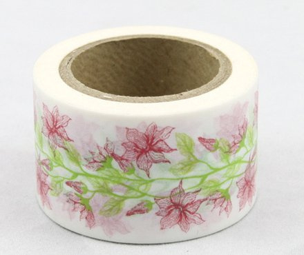 Dekorační lepicí páska - WASHI pásky -1ks květiny jemné