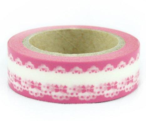 Dekorační lepicí páska - WASHI pásky-1ks bordura v růžové