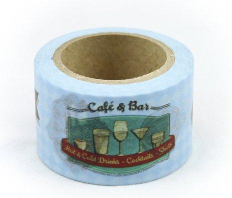 Dekorační lepicí páska - WASHI pásky -1ks Café a Bar