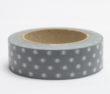 Dekorační lepicí páska - WASHI páska-1ks bílé puntíky v šedivém