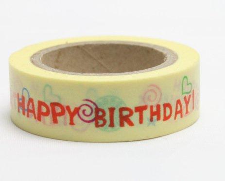 Dekorační lepicí páska - WASHI pásky-1ks happy birthday