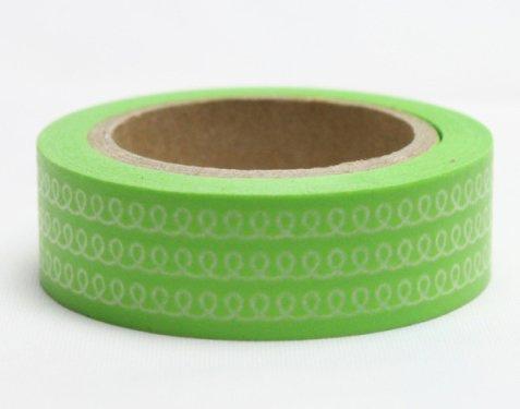 Dekorační lepicí páska - WASHI pásky-1ks pletení v zeleném
