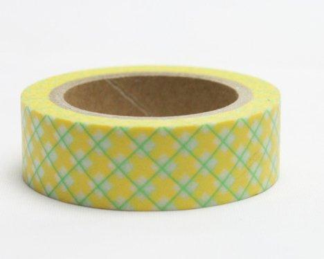 Dekorační lepicí páska - WASHI pásky-1ks káro žluté