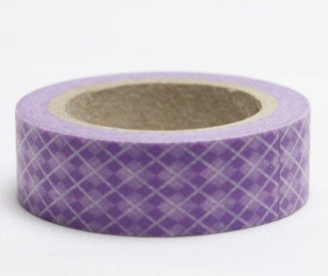 Dekorační lepicí páska - WASHI pásky-1ks káro lila v lila