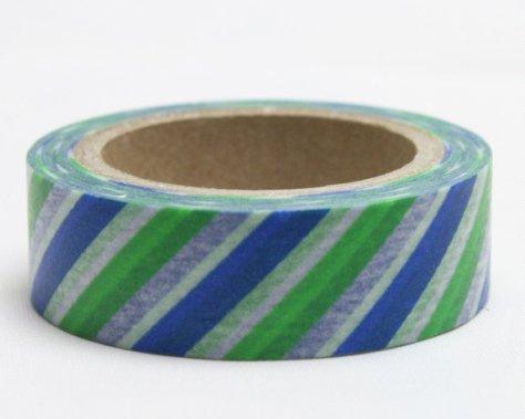 Dekorační lepicí páska - WASHI pásky-1ks pruhy modrá, bílá, zelená