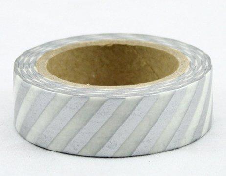 Dekorační lepicí páska - WASHI pásky-1ks pruhy stříbrná