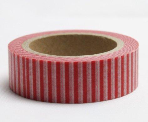 Dekorační lepicí páska - WASHI pásky-1ks svislé červené pruhy