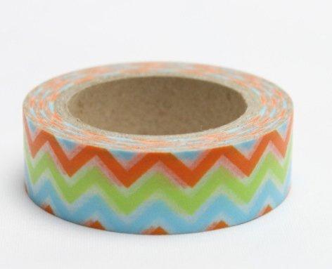 Dekorační lepicí páska - WASHI pásky-1ks cikcak modrá, zelená, oranžová