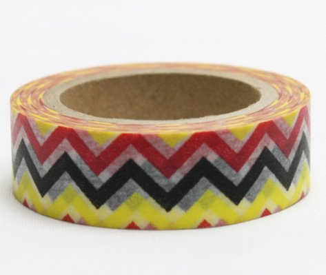 Dekorační lepicí páska - WASHI pásky-1ks cikcak žlutá,černá,červená