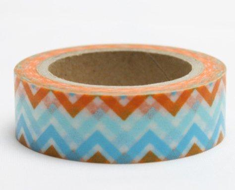 Dekorační lepicí páska - WASHI pásky-1ks cikcak modrá, oranžová