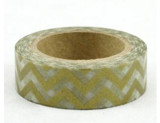 Dekorační lepicí páska - WASHI pásky-1ks cikcak zlatá