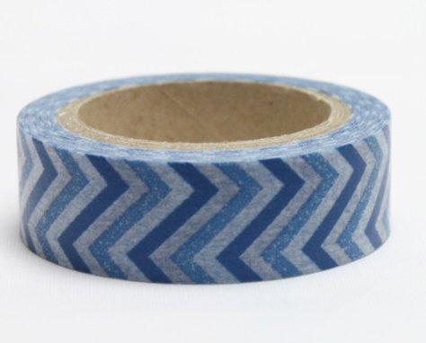Dekorační lepicí páska - WASHI pásky-1ks modrá zetka