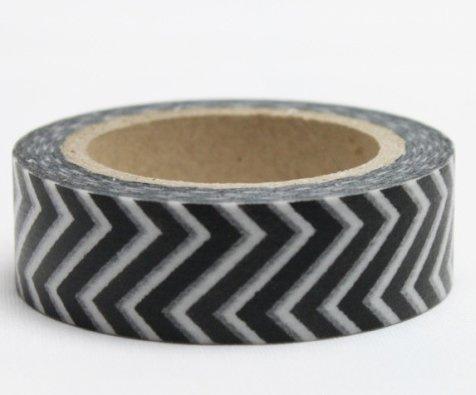 Dekorační lepicí páska - WASHI pásky-1ks černá zetka