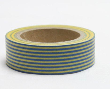 Dekorační lepicí páska - WASHI pásky-1ks pruhy rovné žluto-modré
