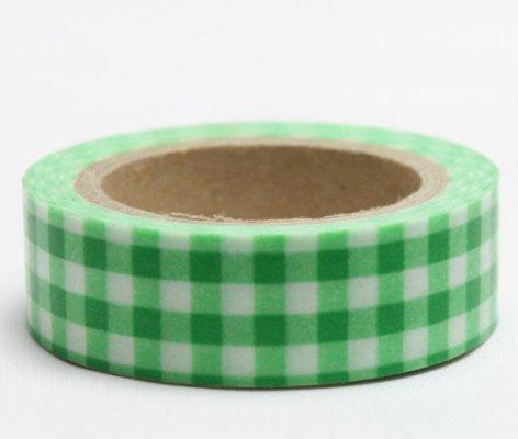 Dekorační lepicí páska - WASHI pásky-1ks kanafas zelený