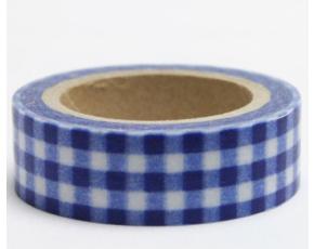 Dekorační lepicí páska - WASHI pásky-1ks kanafas modrý