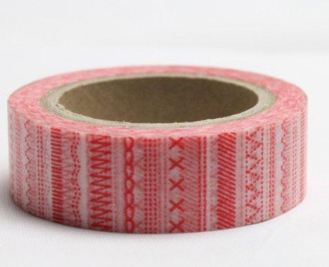 Dekorační lepicí páska - WASHI pásky-1ks vyšívací stehy červené