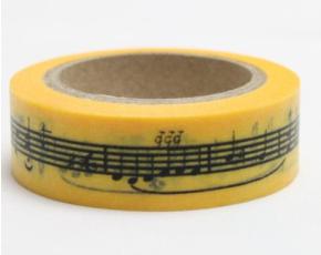 Dekorační lepicí páska - WASHI pásky-1ks noty v žluté