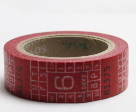 Dekorační lepicí páska - WASHI pásky-1ks metr červený