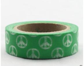 Dekorační lepicí páska - WASHI tape-1ks zelené hippies