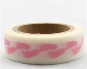Dekorační lepicí páska - WASHI tape-1ks mimi růžové nožičky
