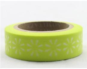 Dekorační lepicí páska - WASHI tape-1ks bílé květiny v citronové