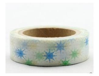Dekorační lepicí páska - WASHI pásky-1ks zlaté a modré vločky